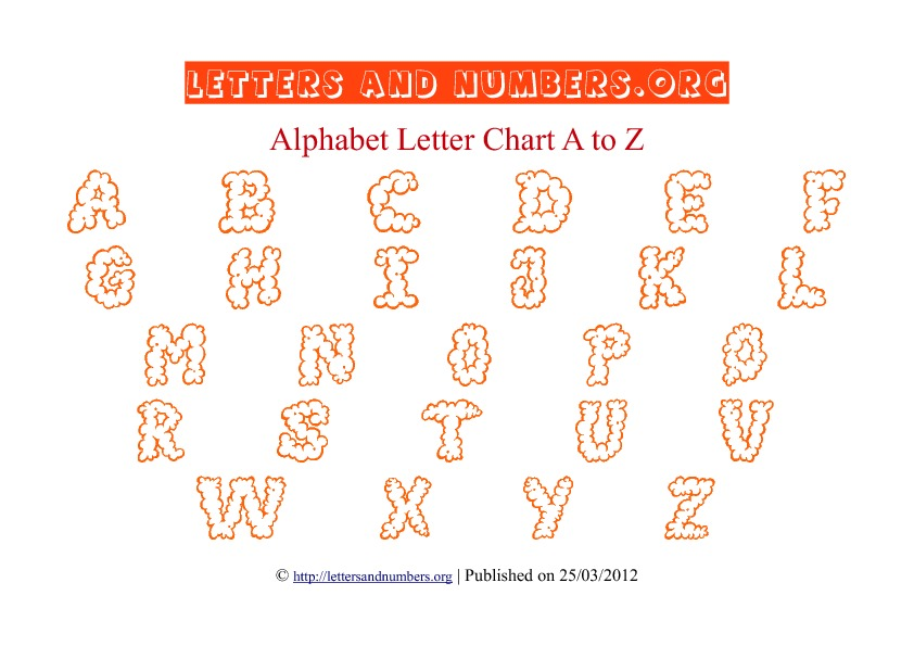 Printable Alphabet Letter Chart Orange