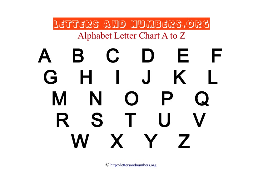 Printable A To Z Bold Letter Charts  Letters And Numbers Org