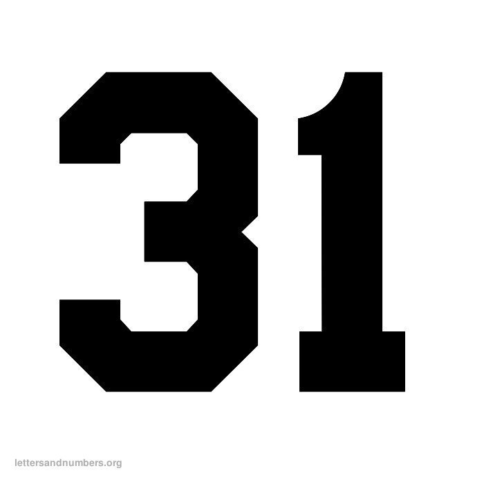 Printable Varsity Numbers 1 to 50   Letters and Numbers Org
