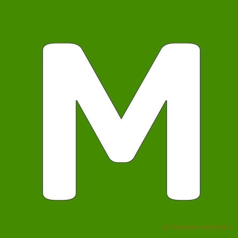 Green Background Letter M