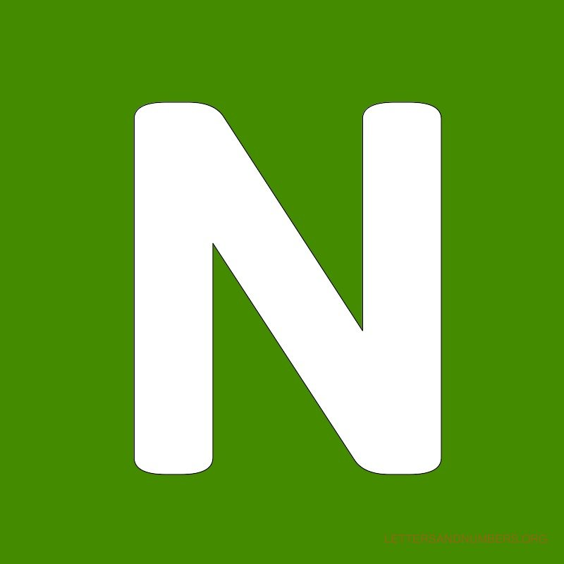 Green Background Letter N