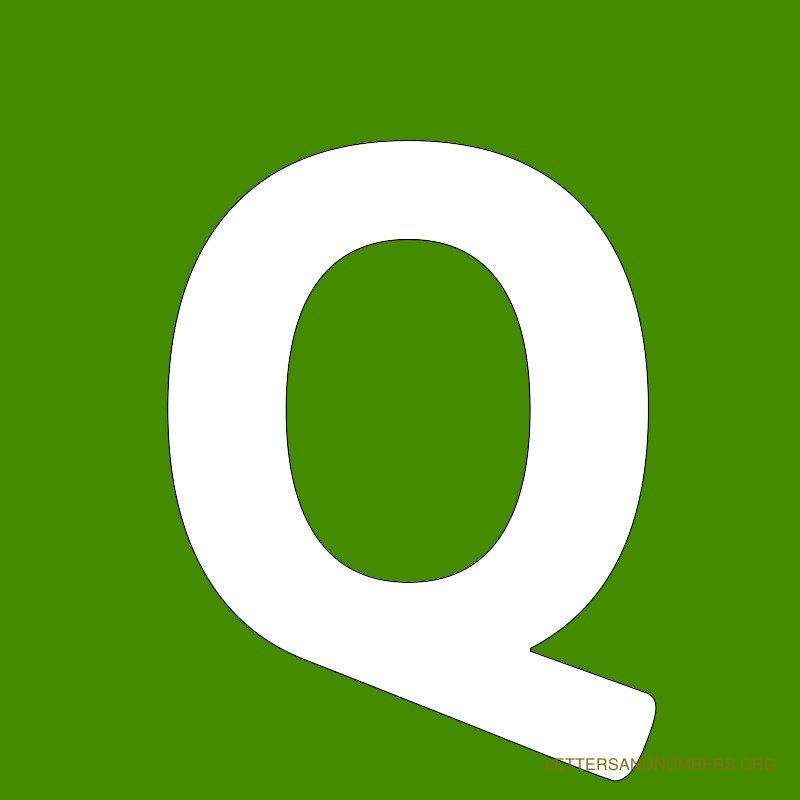 Green Background Letter Q