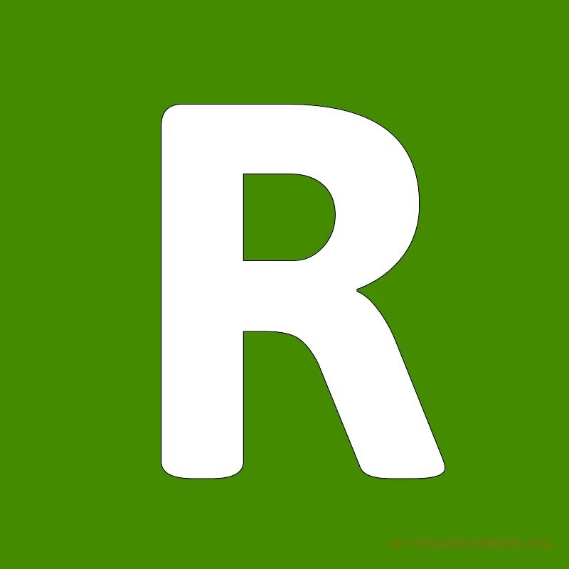 Green Background Letter R