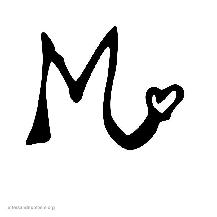 M Letter In Heart Printable A-Z H...