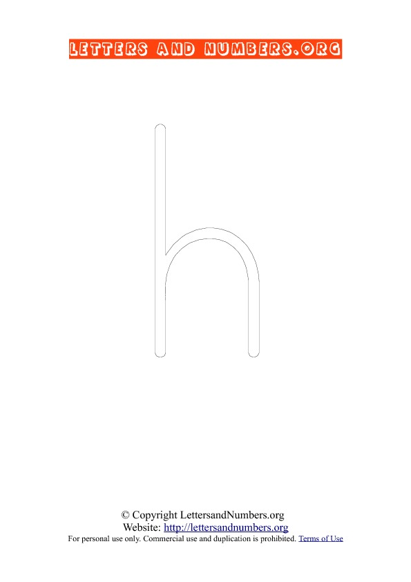 Letter H Lowercase Coloring 1