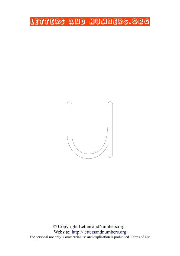 Letter U Lowercase Coloring 1