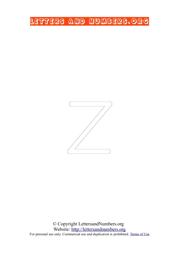 Letter Z Lowercase Coloring 1
