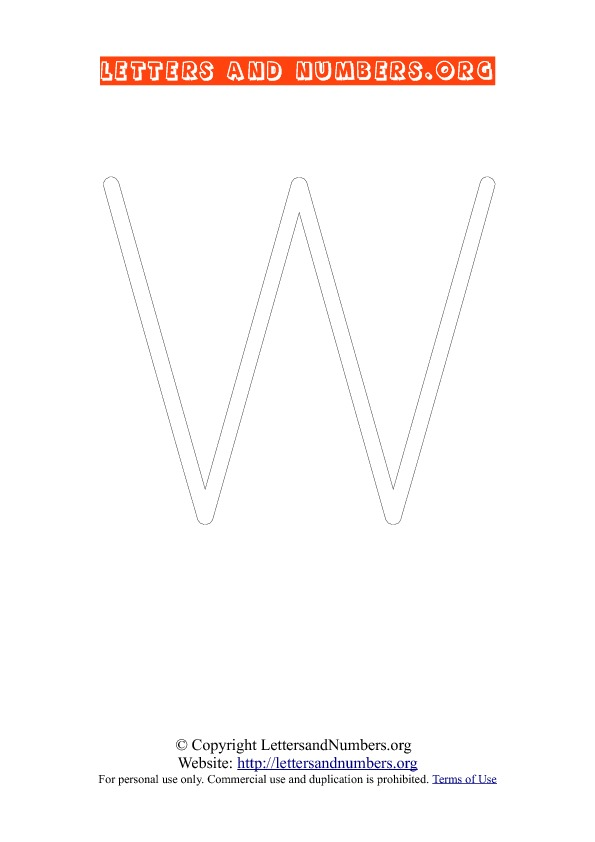 Letter W Uppercase Coloring 1