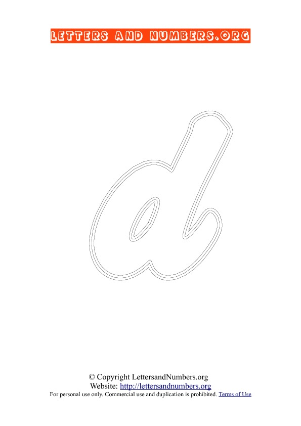 Letter D Lowercase Coloring 2