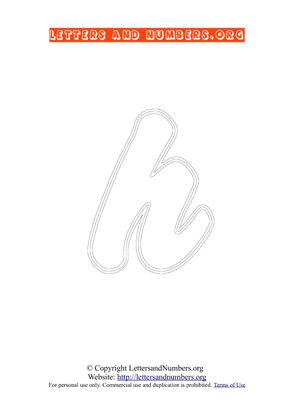 Letter H Lowercase Coloring 2