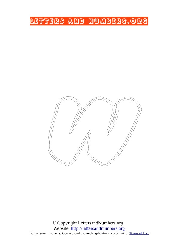 Letter W Lowercase Coloring 2