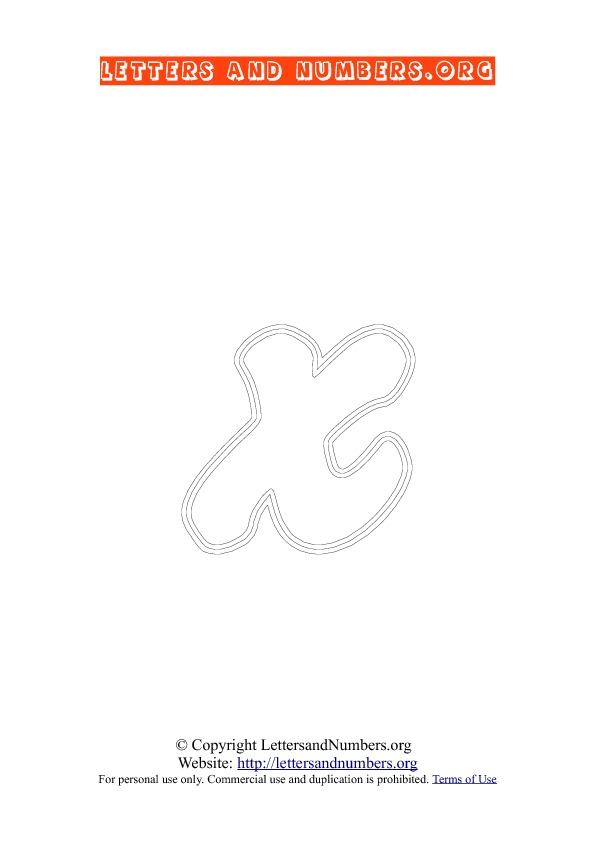 Letter X Lowercase Coloring 2