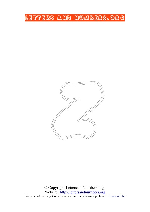 Letter Z Lowercase Coloring 2