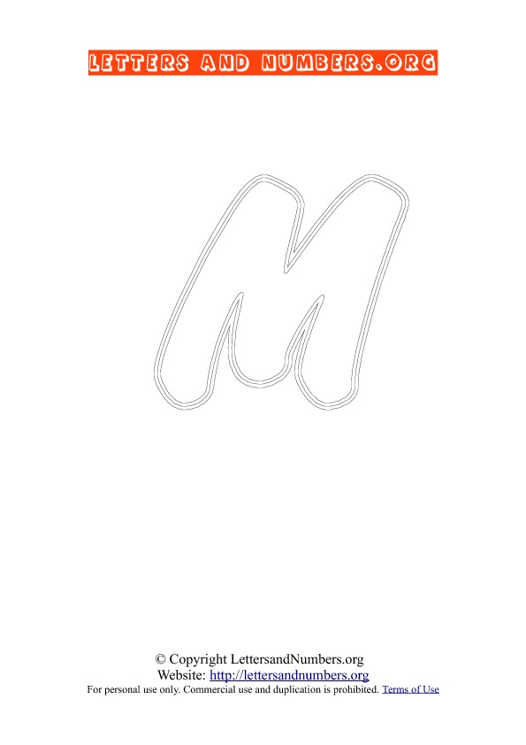Letter M Uppercase Coloring 2