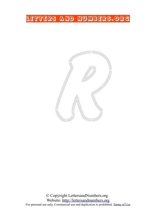 Letter R Uppercase Coloring 2