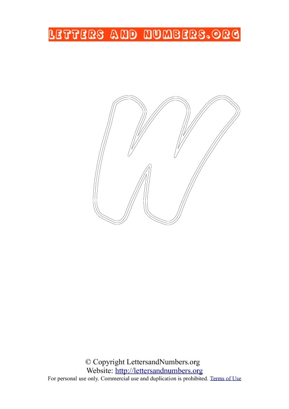 Letter W Uppercase Coloring 2