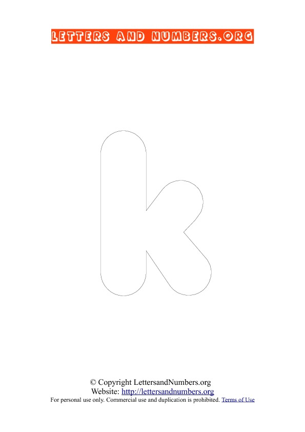 Letter K Lowercase Coloring 3