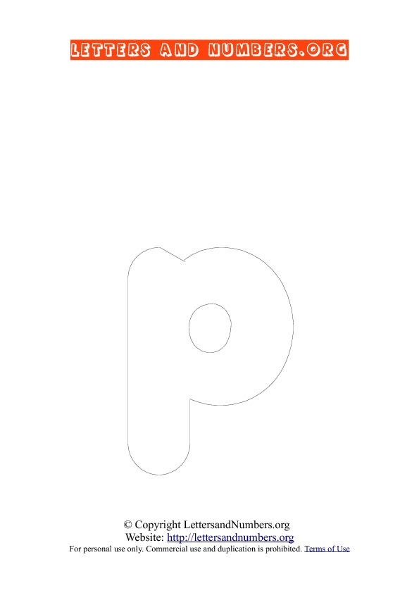 Letter P Lowercase Coloring 3