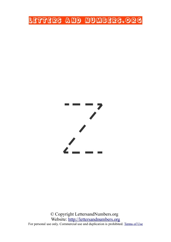 Letter Z Lowercase Tracing