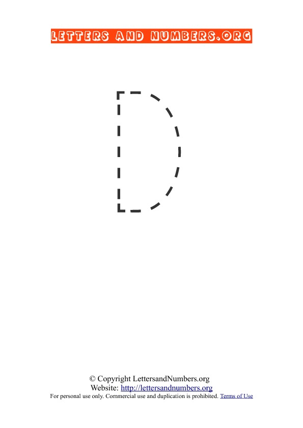 Letter D Uppercase Tracing
