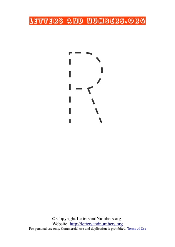 Letter R Uppercase Tracing