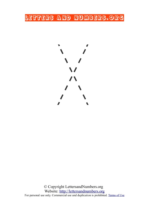 Letter X Uppercase Tracing