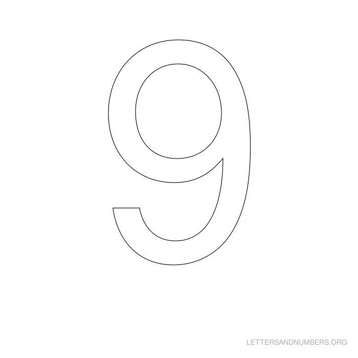 image regarding Printable Number 9 named Printable Selection Stencils 1 towards 50 Letters and Quantities Org