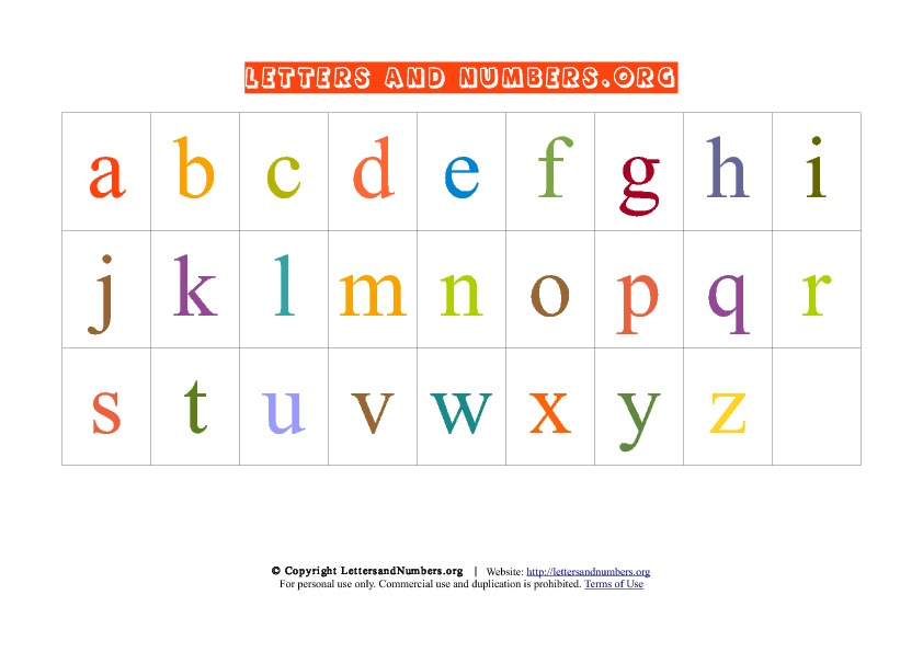 It is an image of Printable Lowercase Alphabet Letters with full page