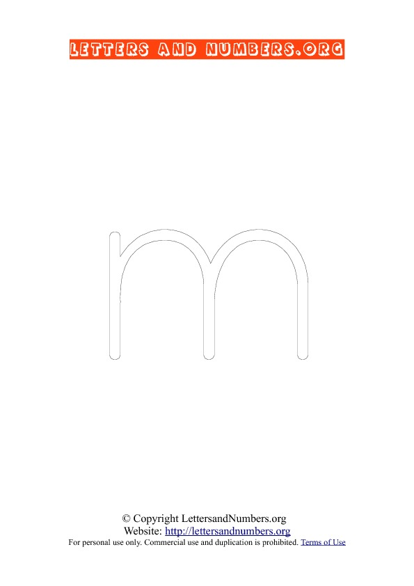 Letter M Lowercase Coloring 1