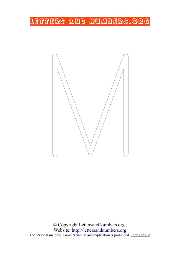 Letter M Uppercase Coloring 1