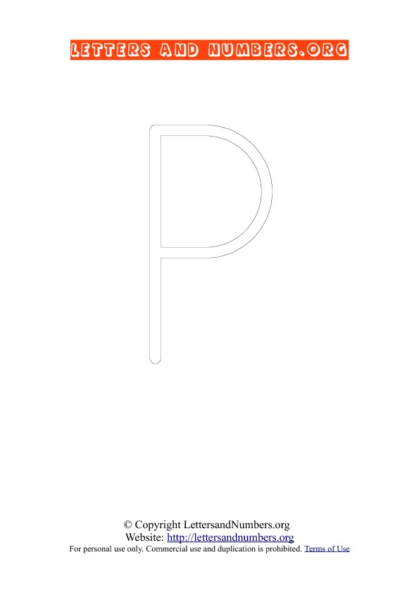 Letter P Uppercase Coloring 1