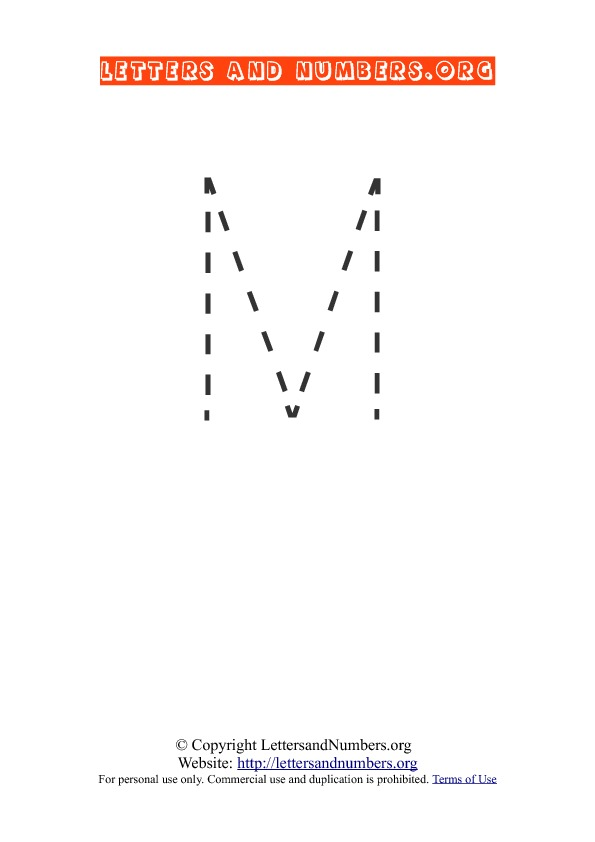 Letter M Uppercase Tracing